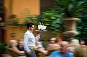 Kellner serviert Cocktails im Garten der Abaco Cocktail Bar in der Altstadt, Palma, Mallorca, Balearen, Spanien, Europa