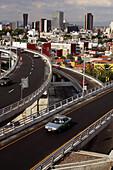 Auto, Automobile, Automobiles, Autos, Bridge, Bridges, Building, Buildings, Car, Cars, Cities, City, Cityscape, Cityscapes, Color, Colour, Daytime, Engineering, Exterior, Freeway, Freeways, Latin America, Mexico, Mexico City, Mexico D F, Mexico DF, Motorw