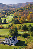 Aerial view of Quechhe and Woodstock region from hot air balloon Vermont USA