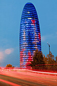 Agbar Tower, Architecture, Barcelona, Building, Buildings, Catalonia, Catalunya, Cataluña, Cities, City, Cityscape, Cityscapes, Color, Colour, Contemporary, Europe, Exterior, Illuminated, Illumination, Jean Nouvel, Light trail, Light trails, Lights, Night