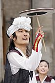 Korean street entertainers, in national costume.Edinburgh Fringe Festival, Scotland