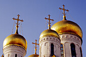 Domes of Cathedral of St. Michael the Arcangel, Kremlin. Moscow. Russia