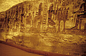 Reliefs inside the temple. Abu Simbel. Egypt.