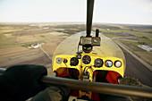 Trike flying over agricultural landscape. Gotland. Sweden.