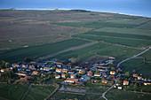 Village in landscape, agricultural and sea, aerial view, Hulterstad. Öland, Sweden