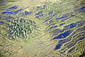 Forest and  wetland area, aerial view. Jämtland, Sweden.