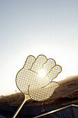 Hand-shaped fly swat covering sun.