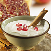 Bowl of yoghurt with pomegranate and vanilla
