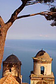 Villa Rufolo. Twin domes of the church of San Pantaleone. Ravello. Amalfi coast. Campania. Italy