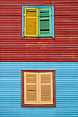 Painted twin window sills, La Boca district. Buenos Aires, Argentina
