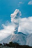 Volcan Santiaguito erupting as seen from the summit of nearby Volcan Santa María, above Quetzaltenango (Xela), Guatemala.