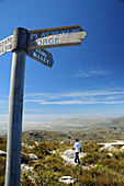 Signpost for walking tracks to Echo Valley and Platteklip Gorge on top of Table Mountain, Table Mountain National Park, Cape Town, South Africa.