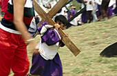 Boy, Boys, Carry, Carrying, Catholicism, Celebrate, Celebrating, Celebration, Celebrations, Child, Children, Color, Colour, Cross, Crosses, Daytime, Devotion, Exterior, Faith, Folk, Folklore, Holiday, Holidays, Holy Week, Horizontal, Human, Kid, Kids, Lat