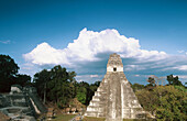 Temple of the Giant Jaguar (Temple I) at Gran Plaza, Mayan ruins of Tikal. Peten region, Guatemala