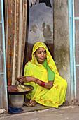Woman, the Blue City, Jodhpur, Rajasthan, India