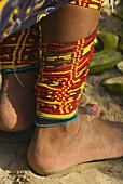 Anklets, Kuna Indian womans native costume, Corbisky Island, San Blas Islands (Kuna Yala), Caribbean Sea, Panama