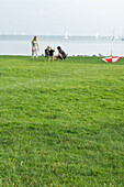 Familie playing croquet at lake Ammersee, Upper Bavaria, Bavaria, Germany