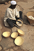 Preparation of calabashes. Craftsman in Dogon country. Mali.