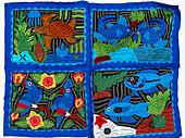 Mola, textile art by the Kuna people. Kuna Yala, San Blas, Panama