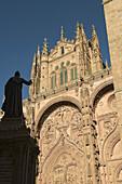 Main front of Gothic cathedral, Salamanca. Castilla-León, Spain