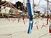 Mascletà, firecrackers during fallas, festive bonfires. Pl. Puerta del Sol de La Canyada. Paterna. Comunidad Valenciana. Spain. Europe