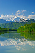 View over river Salzach to mountains Hohe Goll and Barmstoa, Hallein, Salzkammergut, Salzburg (state), Austria
