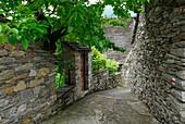 Lane in Gordevio, valley of Maggia, Ticino, Switzerland