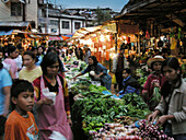 Crowd at Central market at night, Baguio, Benguet Province, Philippines, Asia