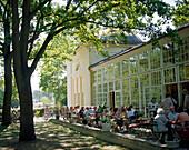 Cafe and restaurant at the Orangerie in the park of Luebbenau chateau, Luebbenau, Upper Spreewald, Spreewald, Brandenburg, Germany