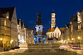 Hercules fountain, St. Ulrich and Afra church in background, Augsburg, Bavaria, Germany