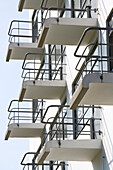 Cantilevered balconies on the Bauhaus Dessau in Gropiusallee, [built from 1925 to 1926 according to plans from Walter Gropius as a school building for Bauhaus], Dessau, Saxony Anhalt, Germany, Europa
