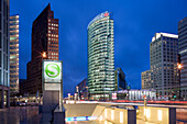 Potsdamer Platz from left to right, Hans Kollhoff Tower, Bahn Tower, Sony Center and Beisheim Center, Potsdamer Platz, Berlin, Germany, Europe