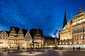 Town hall in the market square at night, Bremen, Germany