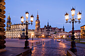 Theaterplatz with Katholische Hofkirche and Dresden Castle at night, Dresden, Saxony, Germany