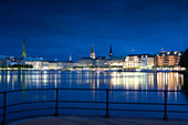 Binnenalster and Jungfernstieg with view towards the town hall, Hanseatic city of Hamburg, Germany, Europe