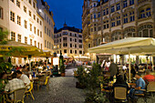 Guests sitting in pavement cafes in the evening, Leipzig, Saxony, Germany