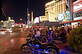 Las Vegas Boulevard, The Strip. Planet Hollywood and Paris Hotel and Casino in the background, Las Vegas, Nevada, USA