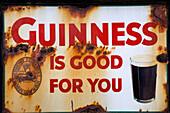 Old advertising sign, Dan Foley`s Pub in Annascaul, County Kerry, Ireland Europe