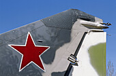 Rear end of Russian jet fighter MiG 25 with red star, Saratov, Russia