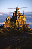 Ensemble of wooden churches of the Transfiguration (1714) and Veil of Holy Virgin (1764), UNESCO Heritage object. Kizhi island, Onega lake, Karelia, Russia