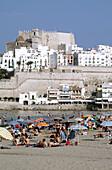 Beach with castle in background, Peñíscola. Castellón province, Comunidad Valenciana, Spain