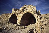 The ruined catacombs of Shobak castle, Shobak, Jordan.