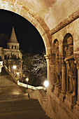 Night time view of the Fishermens Bastion, Castle District, Budapest, Hungary.