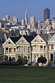 Victorian Houses in Alamo Square, San Francisco, California, United States of America.