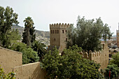 Tower and walls in the medina, Chefchaouen. Morocco