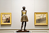 Degas Little Ballerina sculpture and two other paintings, Metropolitan Museum of Art, NYC. USA