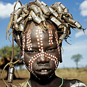 Young person. Mursi tribe. Ethiopia.