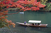 A pleasure boat being poled around Arashiyamas fall colors. Arashiyama. Kyoto. Japan.