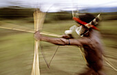 Dani hunter with bow and arrows, Western Papuasia, Baliem valley, Former Irian-Jaya, Indonesia