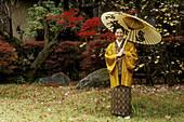 Woman with kimono. Kamenoi-Besso Ryokan. Yufuin. Kyushu island. Japan.